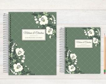 Wedding Journal, Wedding notebook, custom Wedding journal, Personalized Bridal journal, Personalized journal, eucalyptus garland