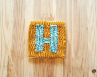 The Letter H (Block) - Handwoven Monogram Tapestry