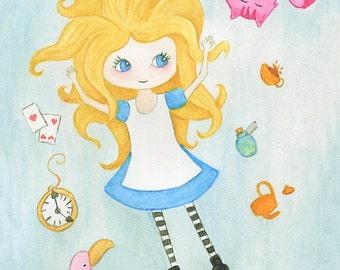 Alice in Wonderland art print - watercolour children's painting whimsical