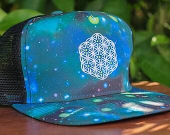 Flower of Life Sacred Geometry Galaxy Trucker Snapback Hat