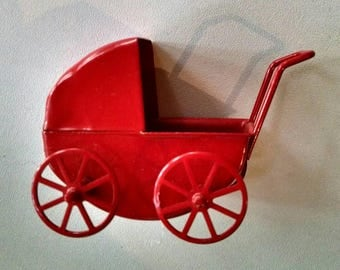 Adorable Red Metal Baby Buggy, Dollhouse Furniture
