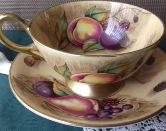 AYNSLEY orchard gold china cup and saucer  signed N.Brunt-  bone china