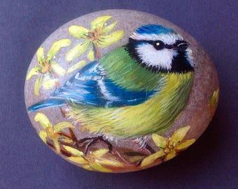 Bluetit painted pebble paperweight/ornament