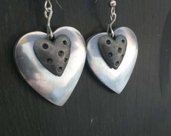 Two Layer Heart Earring - antique and aluminium