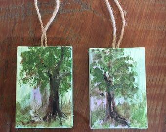 Pair of Tree Ornaments, original acrylic on mini-canvas by Christine Carapico