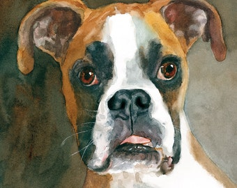 Boxer Print of Watercolor Dog Painting, dog portrait, pet portrait, boxer dog, dog art, tongue, commission, puppy, Adored Dogs, Edie Fagan