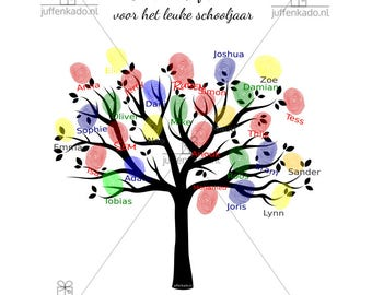 """Personalized print """"Tree"""": finalise it  with the fingerprints of all kids in class"""
