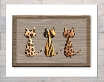 Cat Art, Leopard Print, Tiger Print, Animal Print, Wooden Frame, Printable, Instant Download, Digital Download, Digital Art, Multi Sizes,