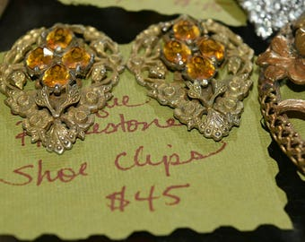 Gorgeous Gold Plated Vintage Shoe Clips