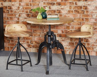 Cosmo industrial dining table set - inc 2 chairs/stools