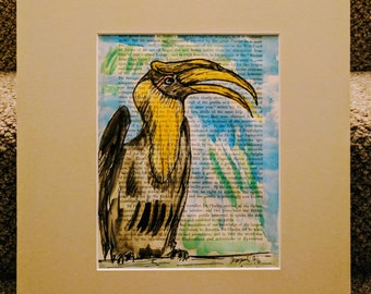 Sweet ink and watercolour sketch of Toucan, mounted behind card