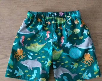 Cotton Elasticated baby shorts,  6-12months