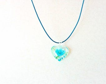 Aquamarine Glass Flower Necklace