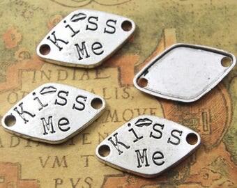 "12pcs silver tone letter ""kiss me""pendants, letter ""kiss me "" charms/connector 20x33mm ASD1818"