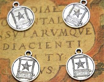 15pcs U.S. Army Charms silver tone Star Charms pendants 15x18mm ASD2248