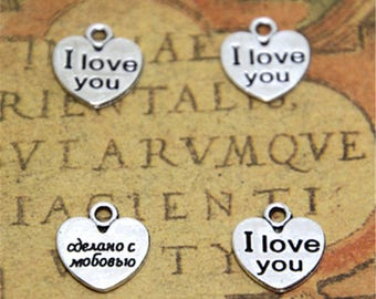 60pcs i love you charms silver tone heart charm pendants 11mm ASD2439