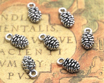 30pcs pine cone Charms silver tone pine cone charm pendant 13x6mm ASD2455