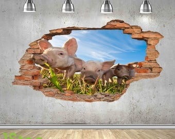Piglet Wall Sticker 3d Look - Bedroom Lounge Nature Farm Yard Wall Decal Z440