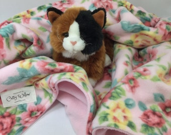Fleece Pet Blanket Small Reversible Hemmed - 40x29 Kitty Cat Bedding Mat, Dog Crate Liner - Plush Cottage Pink Floral - Snuggly, Handmade
