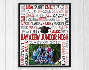 8th GRADE GRADUATION GIFT ~ Middle School Graduation Junior High Graduation Class of 2017 Print ~ Class Picture Printable Graduation digital