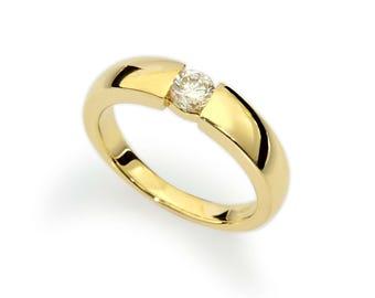 Diamond Engagement Ring, Tension Ring, Diamond Tension Ring, Bridal Engagement Ring, Real Natural Diamond