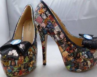Custom Made DC Comics  Inspired Wonder Woman Women's High Heel Shoes UK Adult Size 6