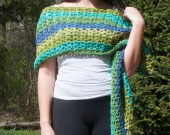 Waterfall Crochet Wrap, Scarf