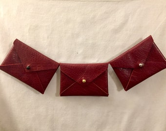 Handmade Leather Card Case - Red