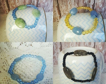 Stretch bracelet with bead accent.