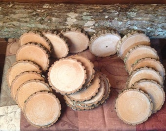 20 Pieces Real Ash Wood Log Slices for Crafts / Weddings / Coasters