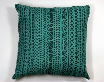 Scandinavian style cushion in teal block print (cushion pad included)