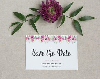 Pretty Floral Save the Date card - Rustic Save the Date - Wedding Save the Date card