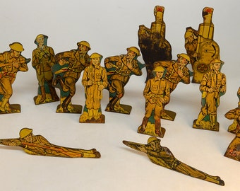 Antique Toy Tin Soldiers by Marx Toys