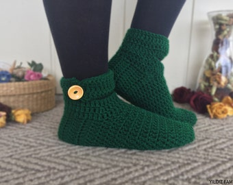 Knitted Slippers with Wooden Buttons, Green, House Shoes, Traditional Turkish Patik, Handmade