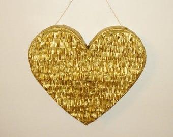 Gold Heart Pinata. wedding pinata. anniversary pinata. Valentine's Day pinata. large pinata.