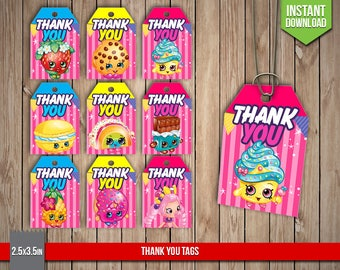 SHOPKINS Thank You Tags - Shopkins Labels, Tag, Wrappers, Shoppies, Label, Favors, Party Decoration - Digital PDF Files, Instant Download