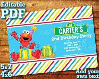 "Printable Elmo Sesame Street Invitation for Sesame Street Birthday Party (5"" x 7"" or 4"" x 6"") Editable PDF Instant Digital Download"