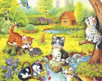 Kittens-Kittens Cross Stitch Pattern-Printable Playing Kittens-Digital Print-Printable Embroidery-PDF File