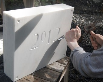 Marble datestone with hand carved numbers, architectural decor, house plaque, gravestone, address plaque, house numbers, memorial stone