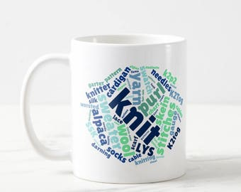Knitting Gift Mug ~ Knitting Terms Word Cloud Art ~ Gift for Knitters ~ Knit Purl Yarn Stitches Skein Swatch K2tog K2P2