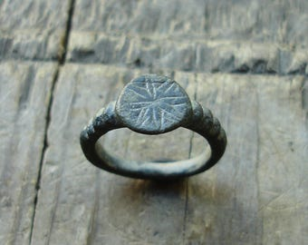 Ancient 15th-17th C. AD Bronze Ring with a Star of Ishtar Symbol US & Canadian approx. size 5 3/4 British and Australian approx. size L 1/4