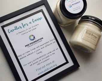 PKD Foundation Fundraiser - Soy Wax Candle - Ocean Breeze - Awareness - For a Cause - Mason Jar Candle - Farmhouse - Farmhouse Style - Decor