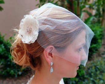 Stunning Ivory Tulle Veil with Satin/Lace flower and Crystal Brooch, Vintage-style Bridal Veil.