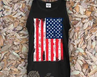 American Flag  Tank Top Flag Hands American Apparel