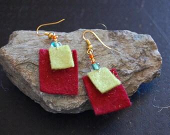 Red and green felt earrings