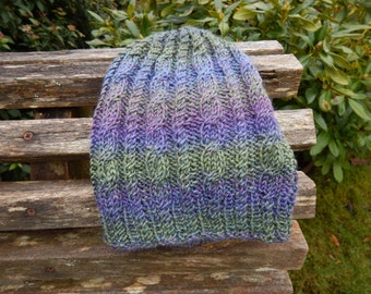 hand knit hat/wool/cables