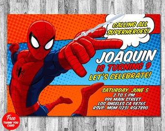 SPIDERMAN INVITATION, Spiderman Birthday Invitation, Free Spider Man Thank You Card