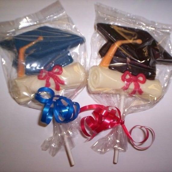 2 dozen graduation cap chocolate lollipop college high school party favor