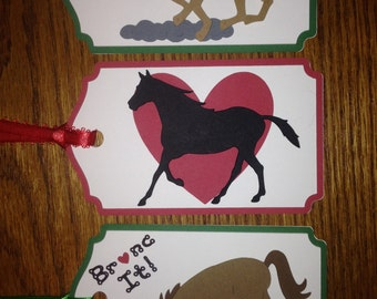Crafty Tags by Kristin 3D Dimensional Layered Giddy Up Horse Silhouette Heart Love Bucking Bronc Western Gift Tag Assortment Pack of 3