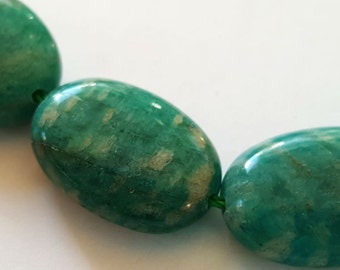 18mm x 13mm rounded oval natural Russian amazonite gemstone beads.  8 inch strand
